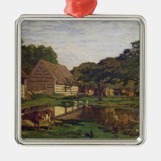 Ornement Carré Argenté Claude Monet | une basse cour en Normandie
