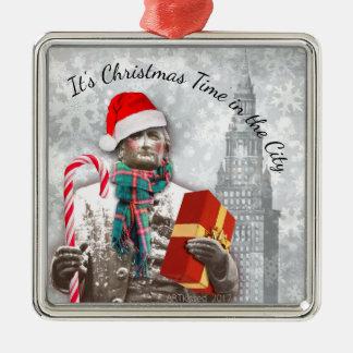 Ornement Carré Argenté Cleveland : Il est temps de Noël dans la ville