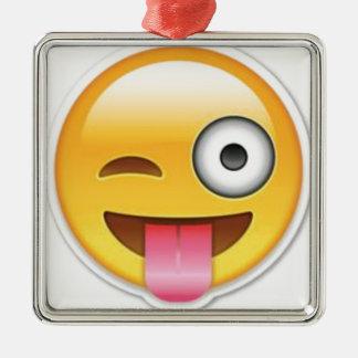 Ornement Carré Argenté Clin d'oeil souriant effronté d'emoji