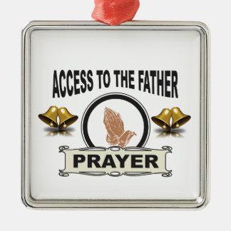 Ornement Carré Argenté cloches de l'accès de prière