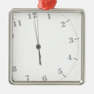 Ornement Carré Argenté Clockface de minuit
