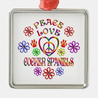 Ornement Carré Argenté Cockers d'amour de paix