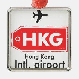 Ornement Carré Argenté Code d'aéroport de Hong Kong HKG
