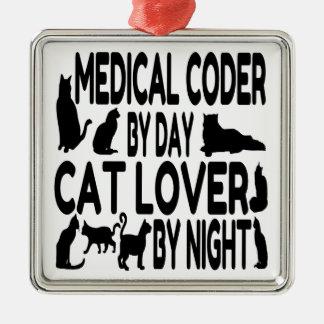 Ornement Carré Argenté Codeur médical d'amoureux des chats