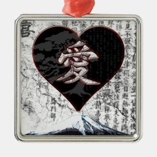 Ornement Carré Argenté Coeur de Fuji - amour de kanji - noir et rouge