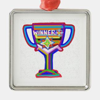 Ornement Carré Argenté Coeur de gagnant : Trophée vintage 3