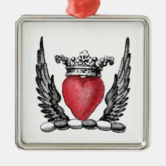 Ornement Carré Argenté Coeur héraldique avec le manteau d'ailes de la