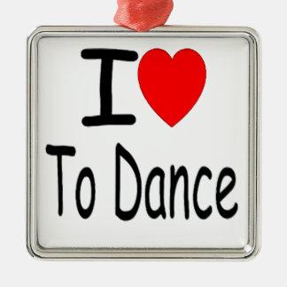 Ornement Carré Argenté coeur i pour danser b