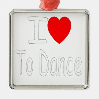 Ornement Carré Argenté coeur i pour danser W