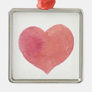 Ornement Carré Argenté Coeur peint par rose d'aquarelle