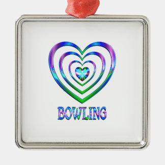 Ornement Carré Argenté Coeurs de bowling