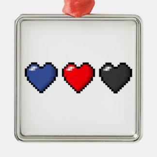 Ornement Carré Argenté Coeurs de pixel de Polyamorous