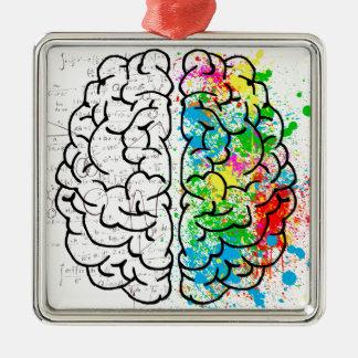Ornement Carré Argenté coeurs d'idée de psychologie d'esprit de cerveau