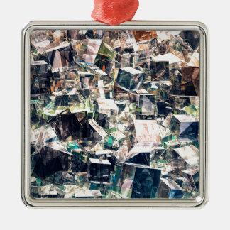 Ornement Carré Argenté Collection chaotique de cubes