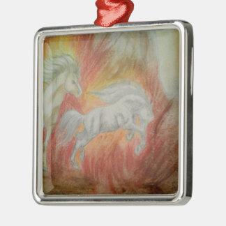 Ornement Carré Argenté Collection ''Horses and Fire''