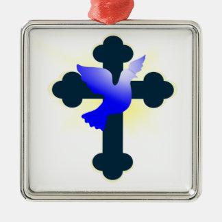 Ornement Carré Argenté Colombe et croix