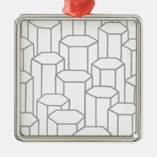 Ornement Carré Argenté Colonnes hexagonales