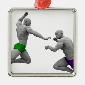 Ornement Carré Argenté Concept d'arts martiaux pour le combat et la