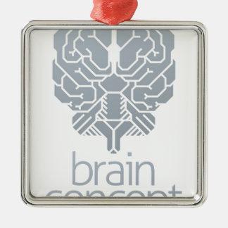 Ornement Carré Argenté Concept de cerveau