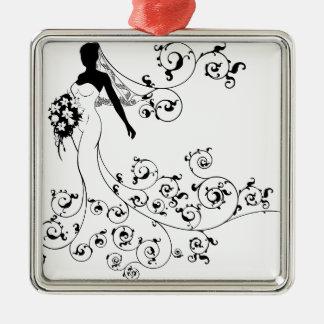 Ornement Carré Argenté Concept de mariage de bouquet de silhouette de