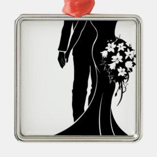 Ornement Carré Argenté Concept de mariage de silhouette de jeunes mariés