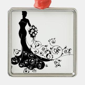 Ornement Carré Argenté Concept de silhouette de mariage de bouquet de