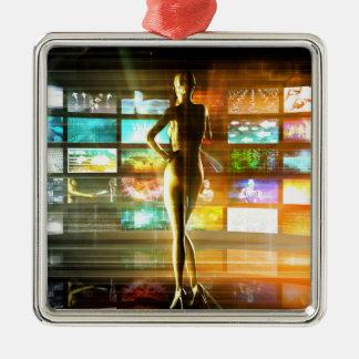 Ornement Carré Argenté Concept de technologies de médias comme mur visuel