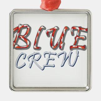 Ornement Carré Argenté Conception bleue d'équipage