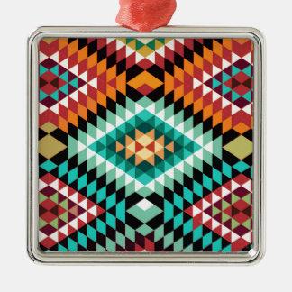 Ornement Carré Argenté Conception colorée de motif africain