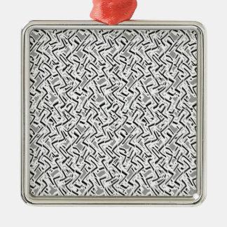Ornement Carré Argenté Conception complexe onduleuse de motif