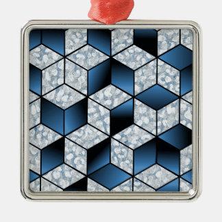 Ornement Carré Argenté Conception cubique bleue abstraite d'effet