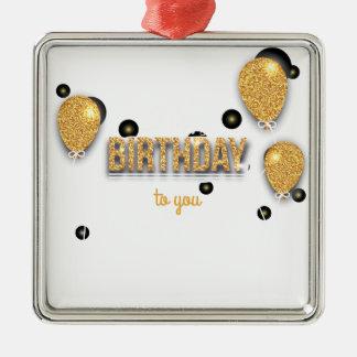 Ornement Carré Argenté conception d'anniversaire de ballon
