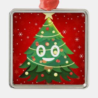 Ornement Carré Argenté Conception d'arbre de Noël d'Emoji