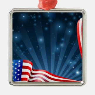 Ornement Carré Argenté Conception d'arrière - plan de drapeau américain