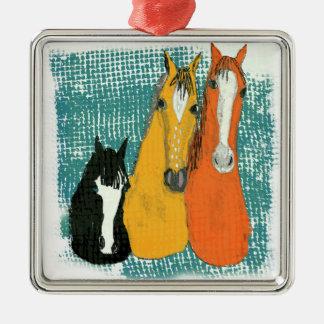 Ornement Carré Argenté conception de cheval d'amusement de trois amis