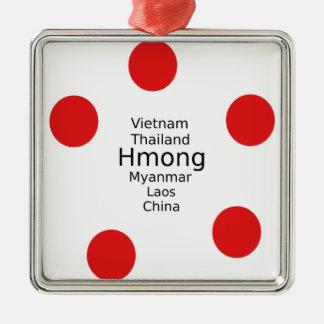 Ornement Carré Argenté Conception de langue de Hmong (inclut des pays)