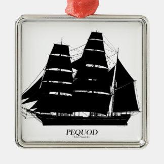 Ornement Carré Argenté conception de noir de bateau de pequod