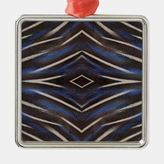 Ornement Carré Argenté Conception de plume de pintade de diamant