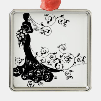 Ornement Carré Argenté Conception de silhouette de mariage de bouquet de