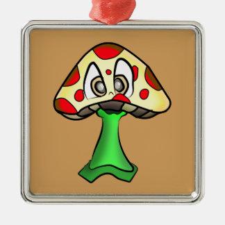 Ornement Carré Argenté Conception de tête de champignon