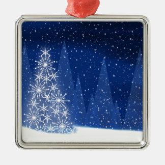 Ornement Carré Argenté Conception de vacances d'arbre de Noël de nuit de
