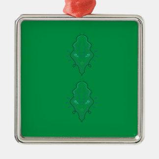 Ornement Carré Argenté Conception de vert d'émeraudes