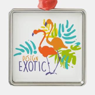 Ornement Carré Argenté Conception exotique de logo avec des oiseaux de