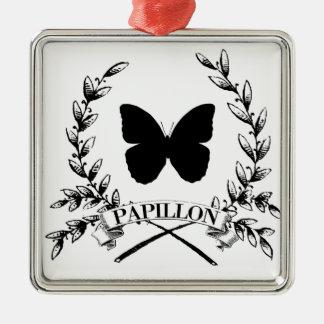 Ornement Carré Argenté conception française vintage de papillon de