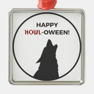 Ornement Carré Argenté Conception heureuse de Halloween de loup-garou