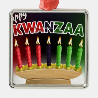 Ornement Carré Argenté Conception heureuse de Kwanzaa