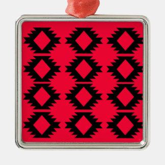 Ornement Carré Argenté Conception maya rouge de conception d'Ethno