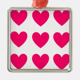 Ornement Carré Argenté Conception rose de coeur