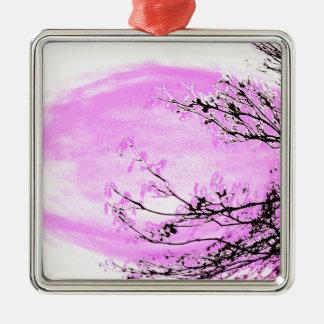Ornement Carré Argenté Conception rose de forêt de Jane Howarth