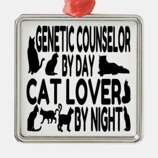 Ornement Carré Argenté Conseiller génétique d'amoureux des chats